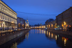 The embankment of the river Moika at night after rain Royalty Free Stock Photo