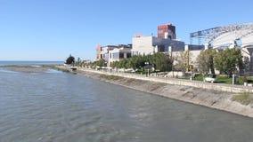 Embankment of the river Mzymta in Adler, Krasnodar Krai, Russia. Adler, Russia - March 8, 2016: Adler is a resort area near Sochi, Krasnodar Krai, Russia stock footage
