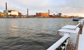 Embankment of river Neva in the winter Stock Image