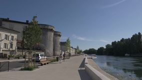 The embankment of the River Seine in Paris is the cafe La Scala. France. stock video footage