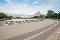 Embankment of the river Svislach in Minsk Royalty Free Stock Photo