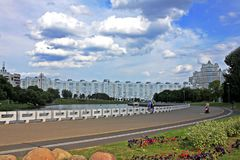 Embankment of the river Svisloch in Minsk, Belarus stock photo