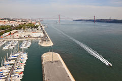Embankment of the River Tagus and the marina Stock Images