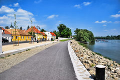 Embankment of the river in the town of St. Andrews in Hungary on a day. Royalty Free Stock Photography