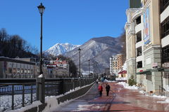 Embankment in Rosa Khutor. Royalty Free Stock Photo