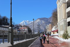 Embankment in Rosa Khutor. Stock Photo