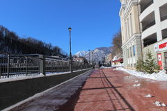 Embankment in Rosa Khutor. Royalty Free Stock Photos