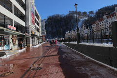 Embankment in Rosa Khutor. Stock Image