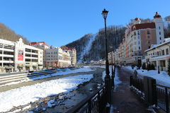 Embankment in Rosa Khutor. Royalty Free Stock Images