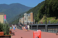 Embankment in Rosa Khutor, Sochi Royalty Free Stock Images