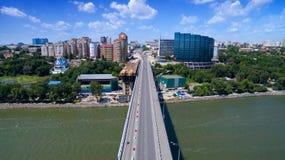 Embankment of Rostov-on-Don and Voroshilov bridge. Russia Stock Photos
