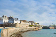 Embankment of   Saint Malo, Brittany, France Royalty Free Stock Images