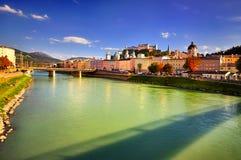 Embankment Salzach in Salzburg Royalty Free Stock Photo