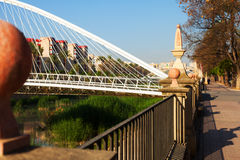 Embankment of Segura  and Footbridge of Jorge Manrique  in  Murc Royalty Free Stock Images