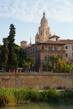 Embankment of Segura river and Cathedral. Murcia Stock Photography