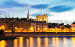 The Embankment of the Seine at night,Paris, France Royalty Free Stock Photo