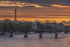 Embankment of the Seine river in historical center of Paris Stock Photo