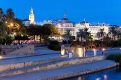 Embankment of Sevilla, Guadalquivir river, Spain stock photography