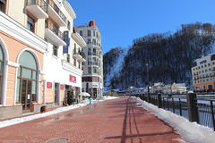 Embankment in the ski village Rosa Khutor Royalty Free Stock Image