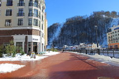 Embankment in the ski village Rosa Khutor. Royalty Free Stock Photos