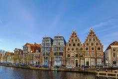 Embankment of Spaarne river, Haarlem, Netherlands Stock Images
