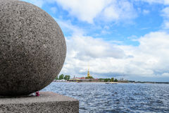Embankment in St. Petersburg. View from the spit of Vasilievsky island on the Neva river and the Hare island with Petropavlovskaya fortress. Summer landscape stock photography