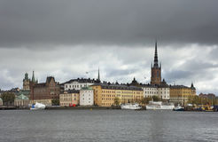 Embankment in Stockholm town. Sweden.  Royalty Free Stock Images