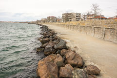 Embankment strengthening in the Bulgarian city of Pomorie Royalty Free Stock Images