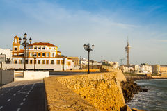 Embankment in sunny evening time. Cadiz Stock Photography