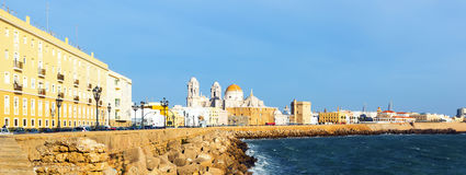 Embankment in  sunny evening time. Cadiz Royalty Free Stock Photography