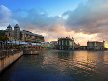 The embankment at sunset, Port-Louis- capital of Mauritius Royalty Free Stock Photos