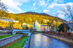 The embankment of Tepla river in the center. Of Karlovy Vary, Czech republic Royalty Free Stock Photos