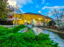 The embankment of Tepla river in the center. Of Karlovy Vary, Czech republic Stock Photo