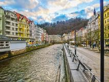 The embankment of Tepla river in the center. Of Karlovy Vary, Czech republic Stock Images
