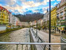 The embankment of Tepla river in the center. Of Karlovy Vary, Czech republic Royalty Free Stock Photography