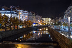 Embankment of Tepla river, Karlovy Vary Royalty Free Stock Images