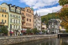 Embankment of Tepla river, Karlovy Vary, Czech republic Royalty Free Stock Photos