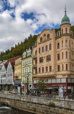 Embankment of Tepla river, Karlovy Vary, Czech republic Royalty Free Stock Image