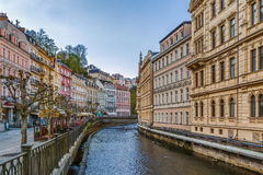 Embankment of Tepla river, Karlovy Vary, Czech republic Royalty Free Stock Images