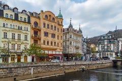 Embankment of Tepla river, Karlovy Vary, Czech republic Royalty Free Stock Photo