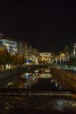Embankment of Tepla river, Karlovy Vary, Czech republic Stock Photo