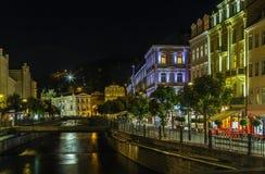 Embankment of Tepla river, Karlovy Vary, Czech republic Stock Image