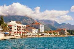 Embankment of Tivat town.  Bay of Kotor Adriatic Sea, Montenegro Royalty Free Stock Photo