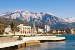 Embankment of Tivat town with Lovcen mountain in the background. Bay of Kotor, Montenegro, winter Royalty Free Stock Photography