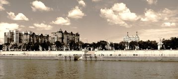 Embankment in town of Blagoveshchensk Royalty Free Stock Images