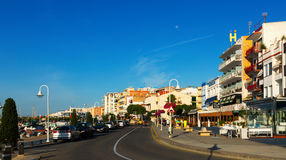 Embankment at typical mediterranean town. L'Ampolla Royalty Free Stock Images