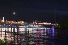 The embankment of Tyumen in beautiful night-time lighting. Tyume Royalty Free Stock Images