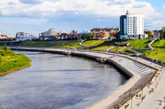 The embankment in Tyumen and the river Tura in the summer sunny Royalty Free Stock Photography