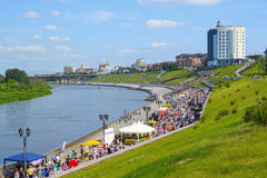The embankment in Tyumen and the river Tura in the summer sunny Royalty Free Stock Photos