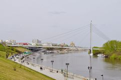 The embankment in Tyumen. Spring flood of the Tura River. Stock Images